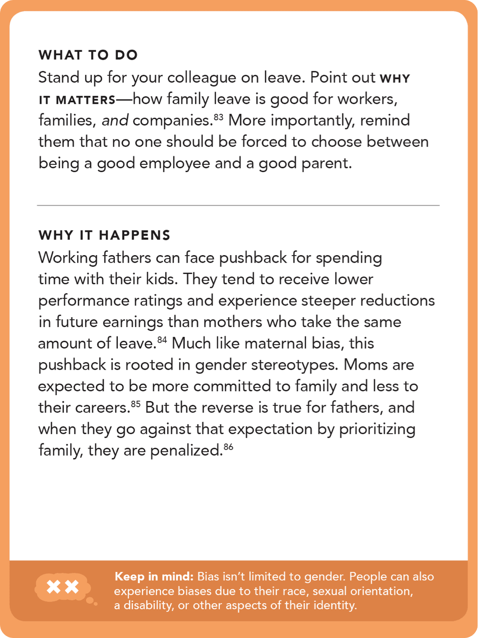 Back of card: What to do - stand up for your colleague on leave. Point out why it matters - how family leave is good for workers, families, and companies.