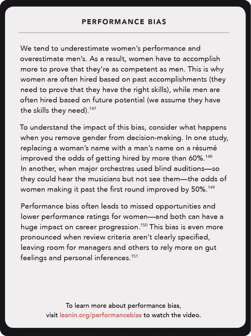 Back of card: We tend to underestimate women's performance and overestimate men's. As a result, women have to accomplish more to prove that they're as competent as men.