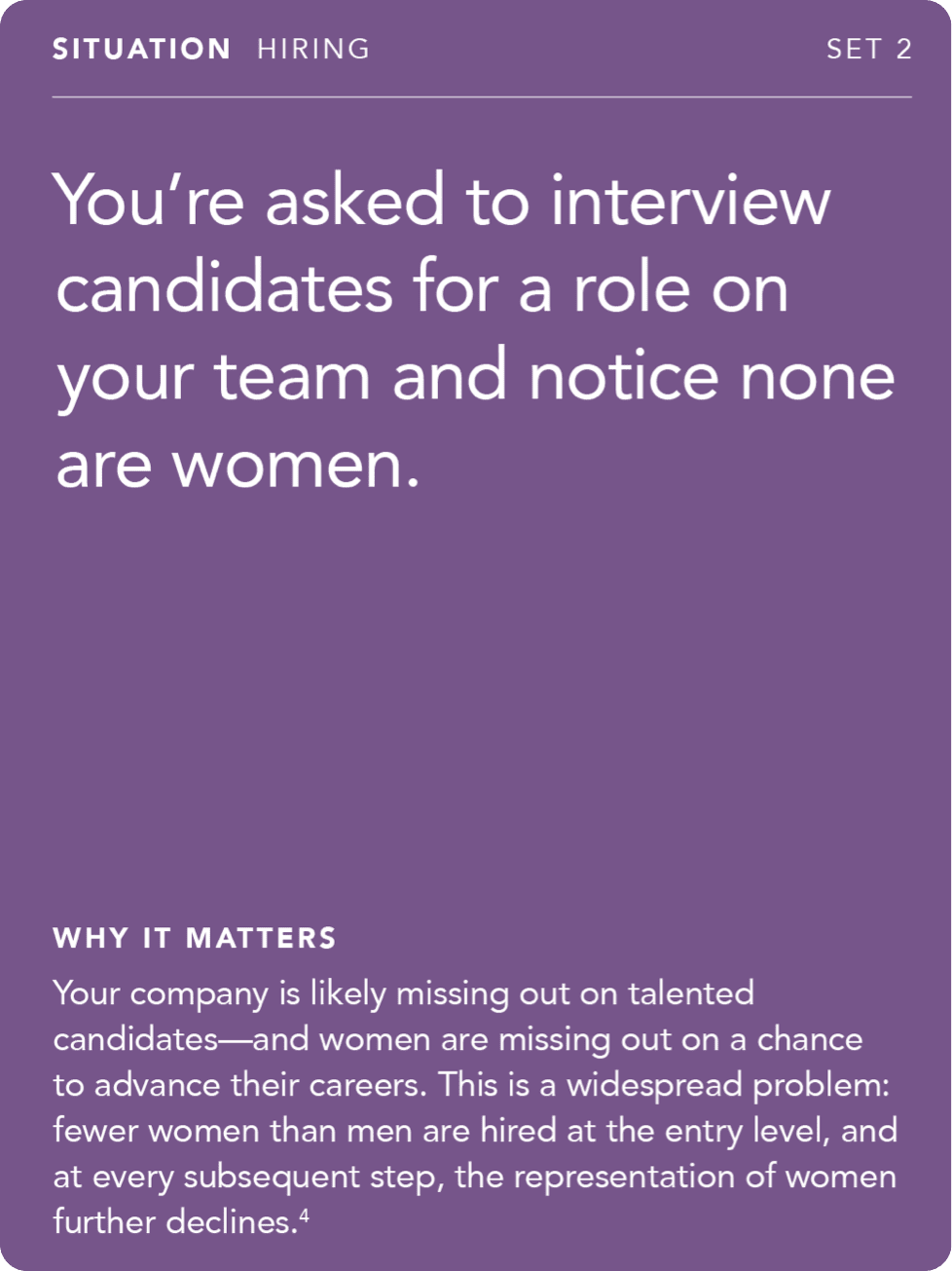 Front of card: Situation - you're asked to interview candidates for a role on your team and notice none are women.