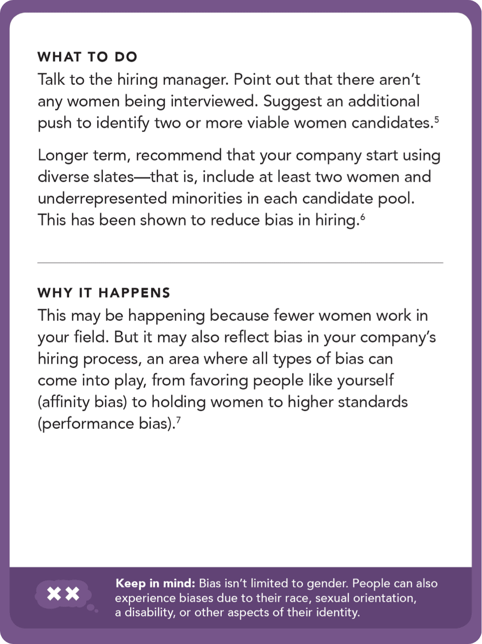 Back of card: What to do: Talk to the hiring manager. Point out that there aren't any women being interviewed. Suggest and additional push to identify two or more viable women candidates.