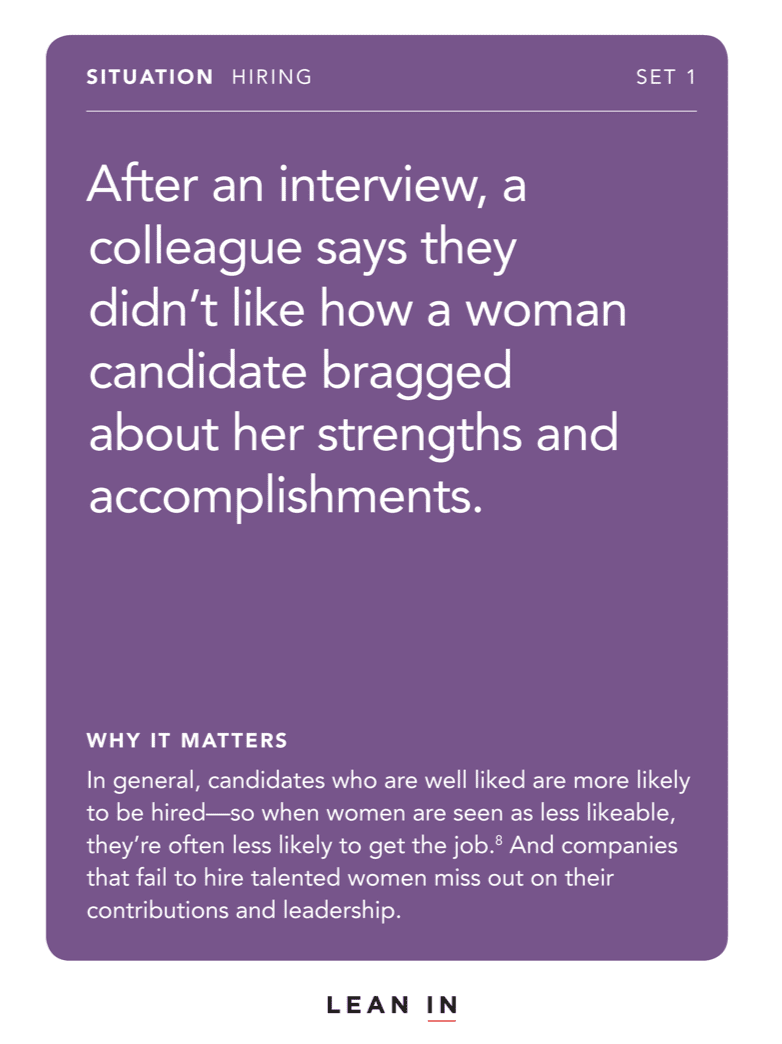Front of card: Situation - After an interview, a colleague says they didn't like how a woman candidate bragged about her strengths and accomplishments.