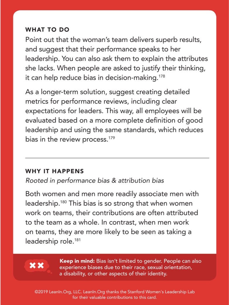 Back of card: What to do - Point out that the woman's team delivers superb results, and suggest that their performance speaks to her leadership.