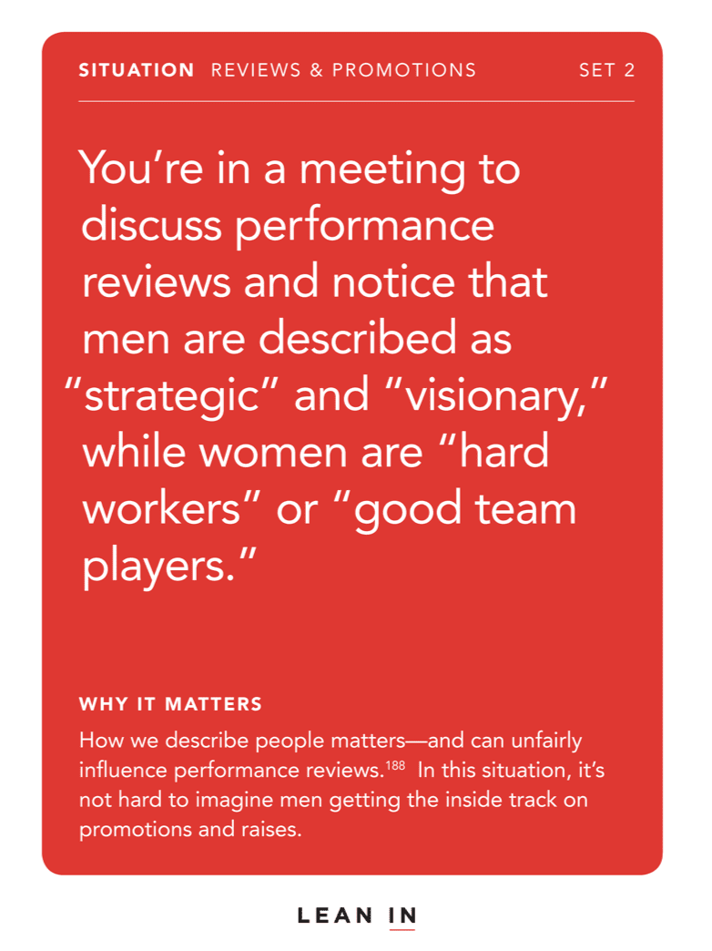 Front of card: Situation - In a meeting, a client only looks at and speaks to the men on your team.