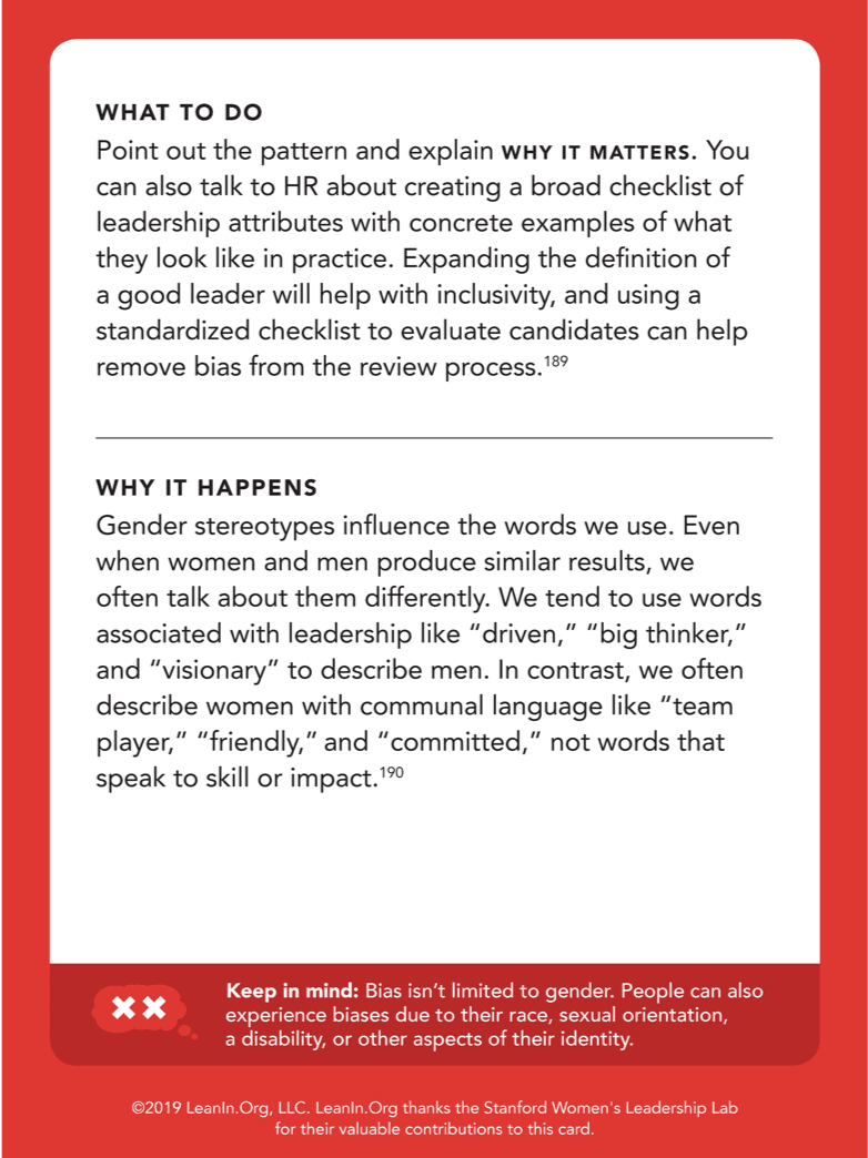 Back of card: What to do - Do your part to make eye contact with everyone and try to find ways to bring more women into the conversation.