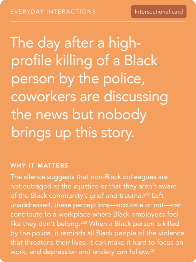 Front of card: 'Situation - The day after a high-profile killing of a Black person by the police, coworkers are discussing the news but nobody brings up this story'