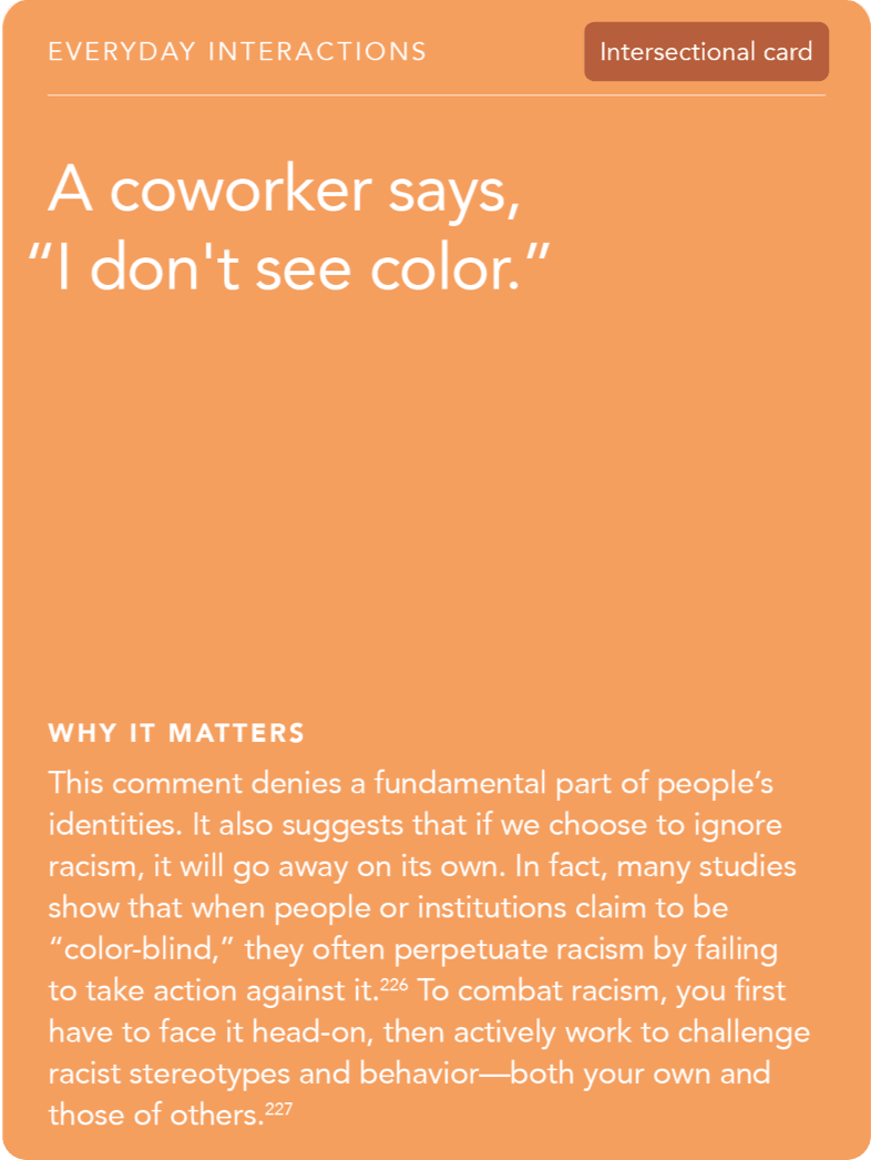 "Front of card: Situation - A coworker says, ""I don't see color."""