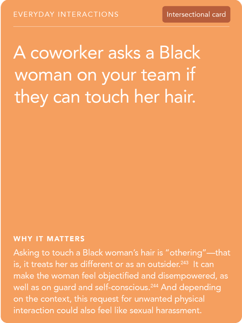 Front of card: Situation - A coworker asks a Black woman on your team if they can touch her hair.