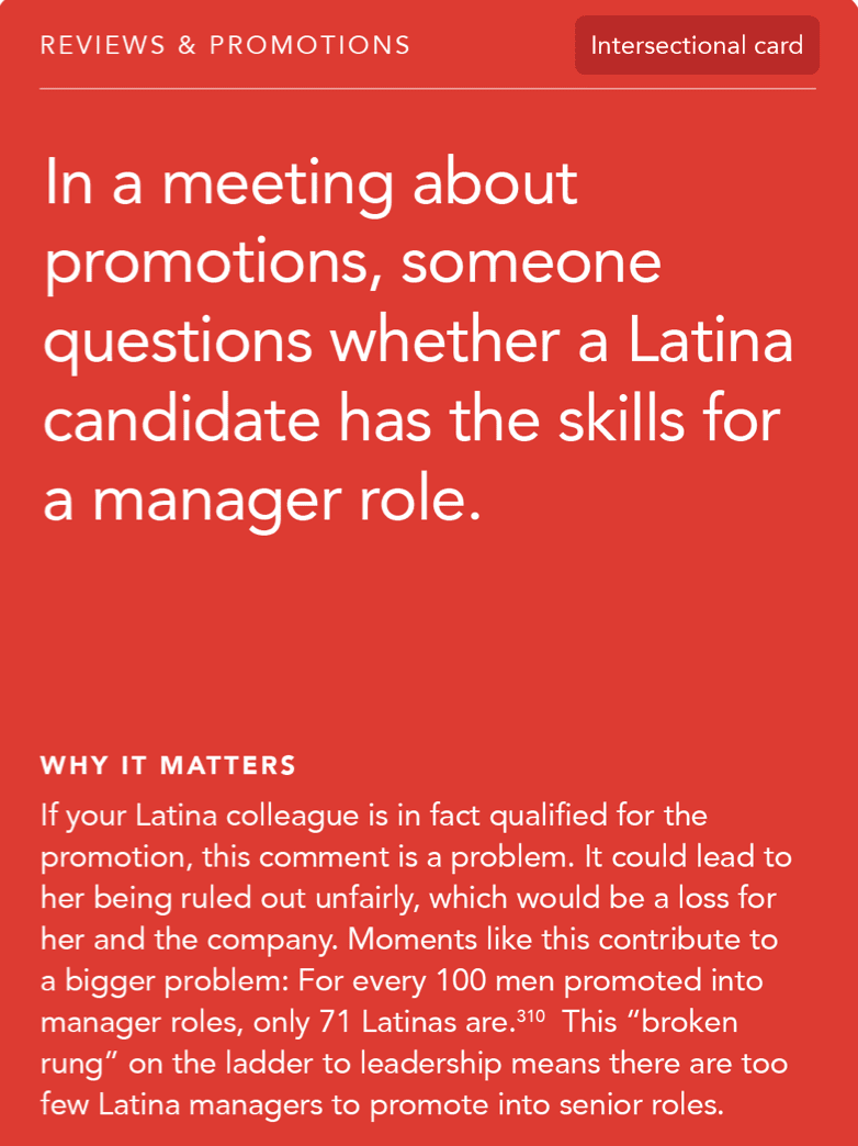 Front of card: Situation -In a meeting about promotions, someone questions whether a Latina candidate has the skills for a manager role.