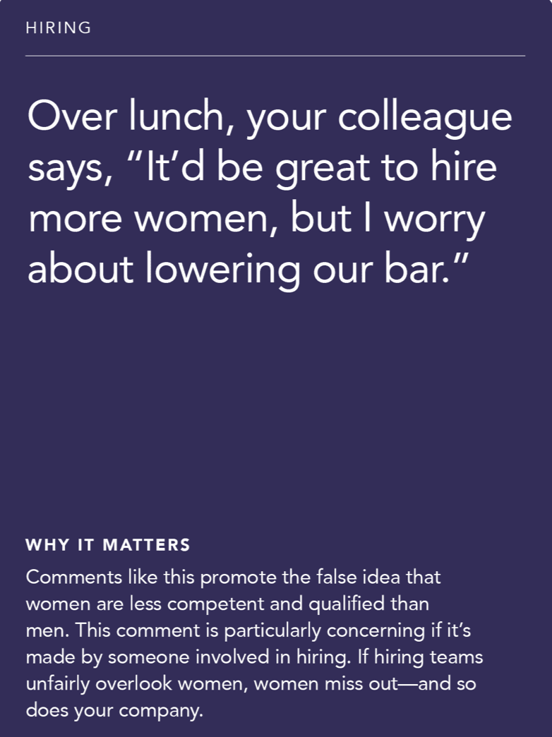 """Front of card: Situation - over lunch, your colleague says, """"It'd be great to hire more women, but I worry about lowering our bar."""""""