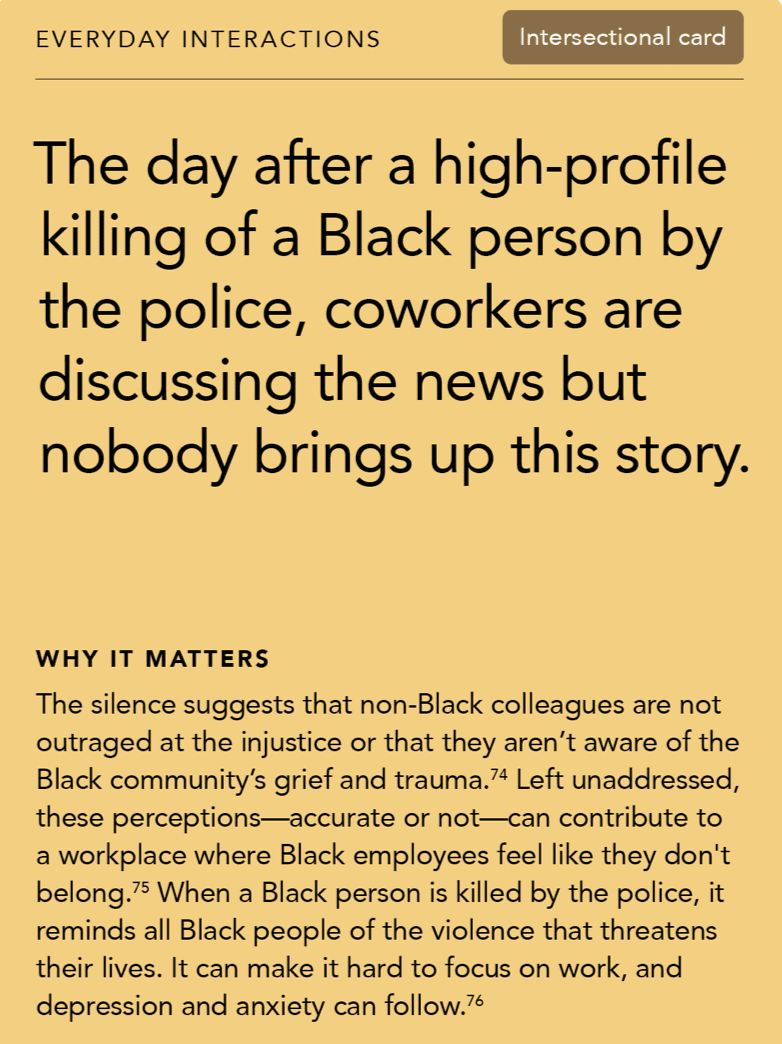 Front of card: Situation - the day after a high-profile killing of a Black person by the police, coworkers are discussing the news but nobody brings up this story.
