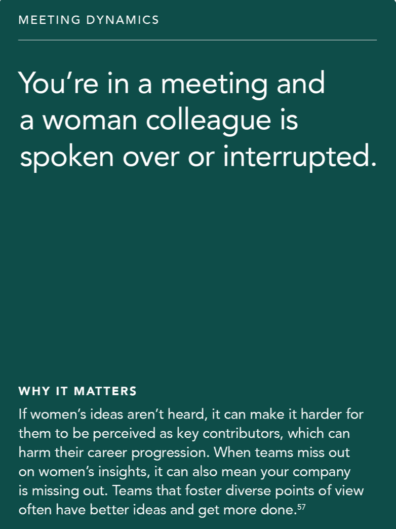 Front of card: 'Situation - You're in a meeting and a woman colleague is spoken over or interrupted.'