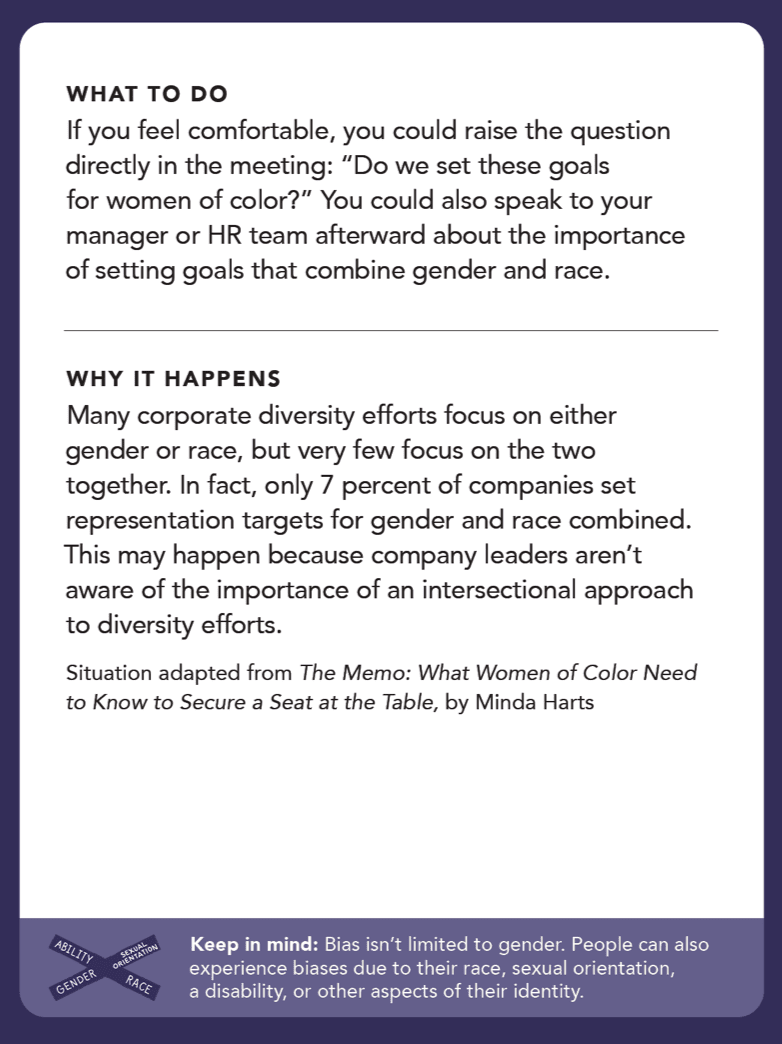 """Back of card: If you feel comfortable, you could raise the question directly in the meeting: """"Do we set these goals for women of color?"""" You could also speak to your manager or HR team afterward about the importance of setting goals that combine gender and race."""