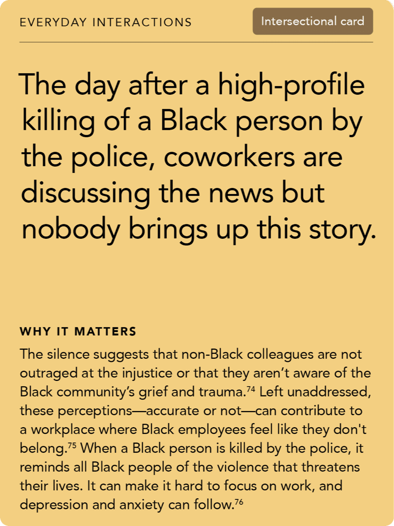 Front of card: Situation - The day after a high-profile killing of a Black person by the police, coworkers are discussing the news but nobody brings up this story