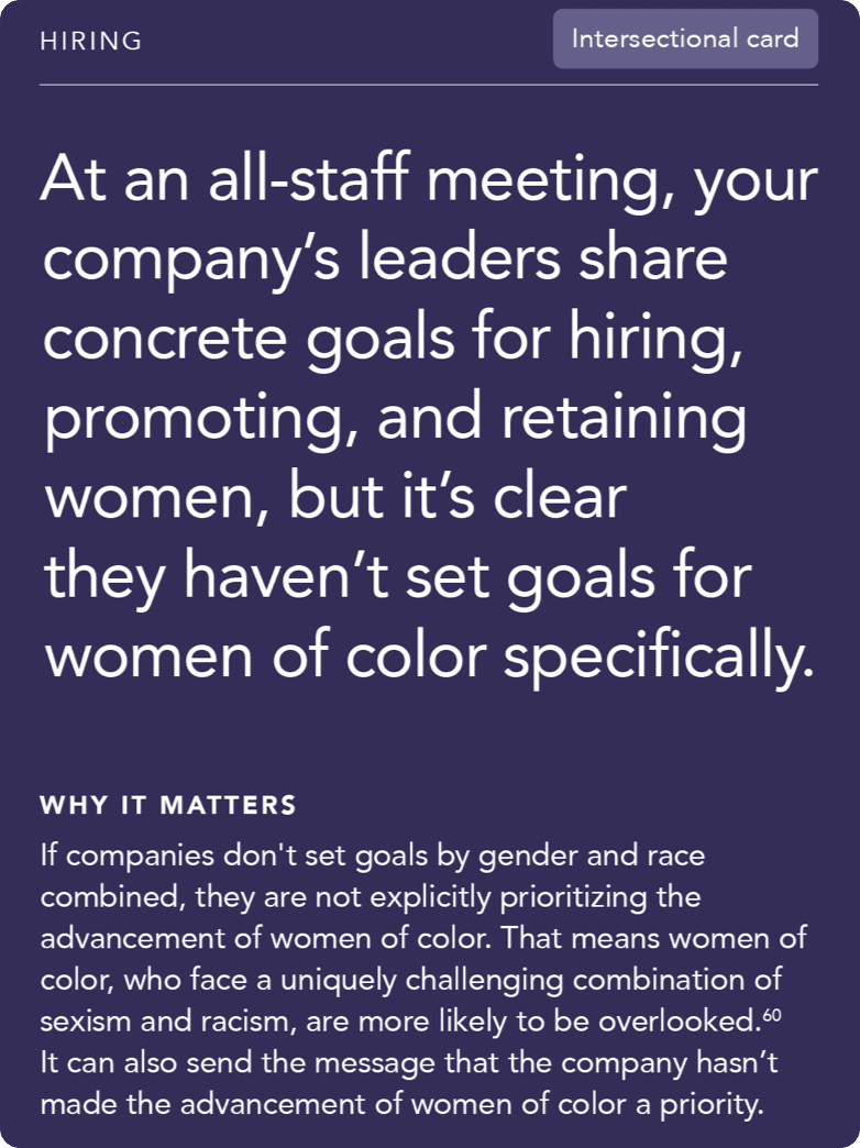 Front of card: 'Situation - At an all-staff meeting, your company's leaders share concrete goals for hiring, promoting, and retaining women, but it's clear they haven't set goals for women of color specifically.'
