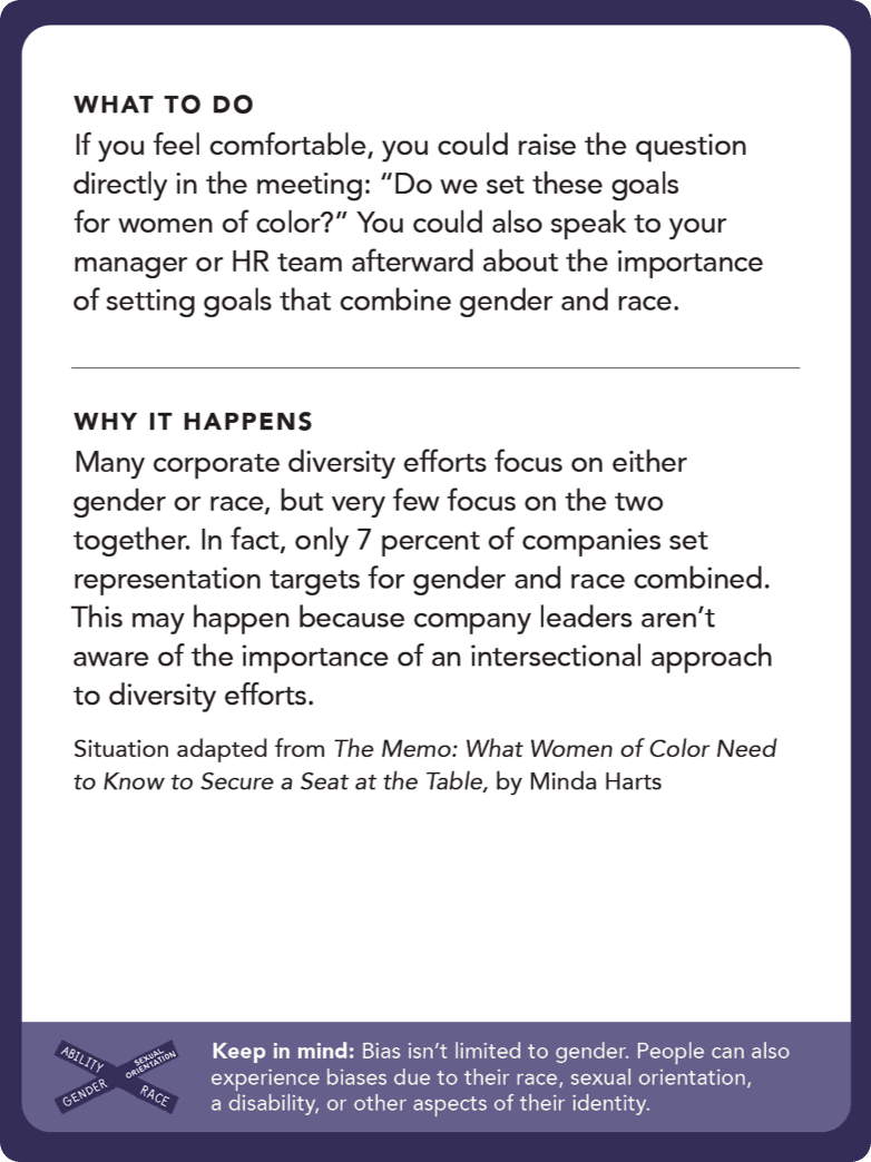 "Back of card: What to do - If you feel comfortable, you could raise the question directly in the meeting: ""Do we set these goals for women of color?"" You could also speak to your manager or HR team afterward about the importance of setting goals that combine gender and race."