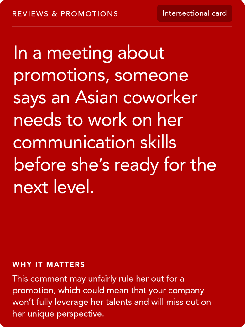 Front of card: Situation - In a meeting about promotions, someone says an Asian coworker needs to work on her communication skills before she's ready for the next level