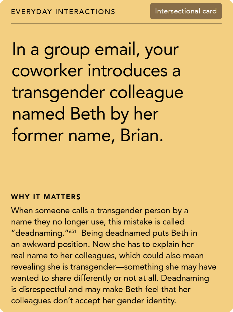 Front of card: Situation - In a group email, your coworker introduces a transgender colleague named Beth by her former name, Brian.