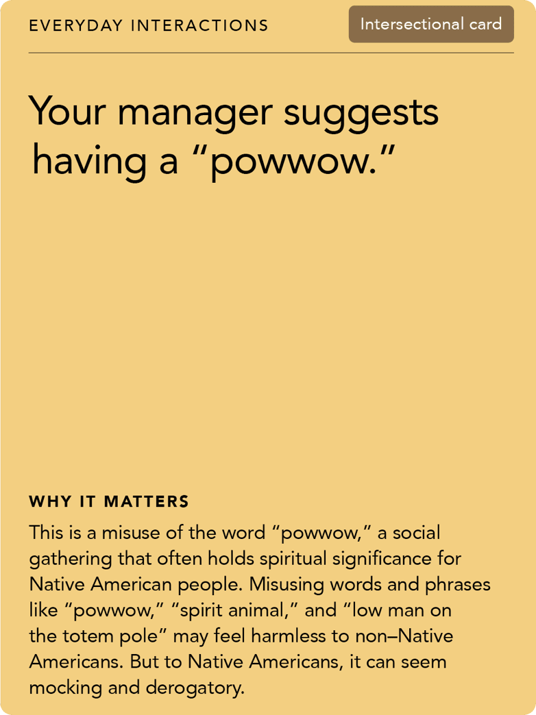 "Front of card: Situation - Your manager suggests having a ""powwow."""